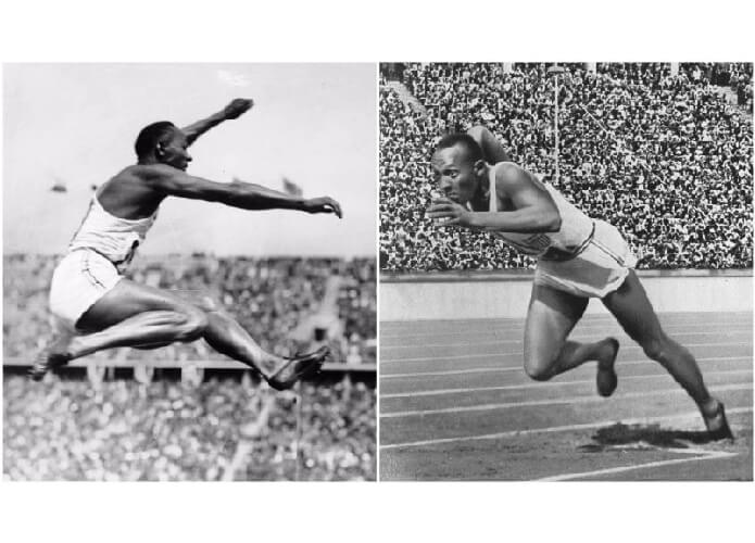 Atlet Olimpiade Amerika Jesse Owens mengenakan sepatu adidas pertama di Olimpiade Berlin 1936.