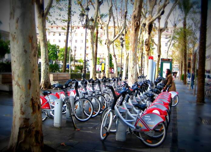 Program bike-sharing di seville spanyol.